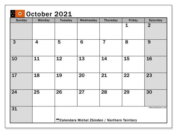 Calendar October 2021 - Northern Territory - Michel Zbinden En