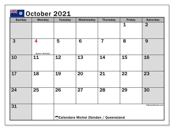 Calendar October 2021 - Queensland - Michel Zbinden En