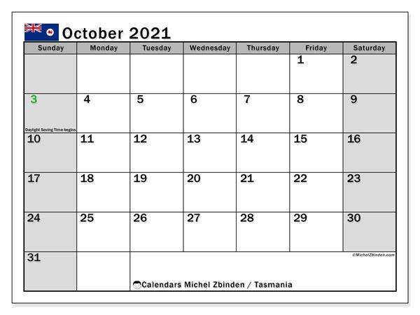 Calendar October 2021 - Tasmania - Michel Zbinden En
