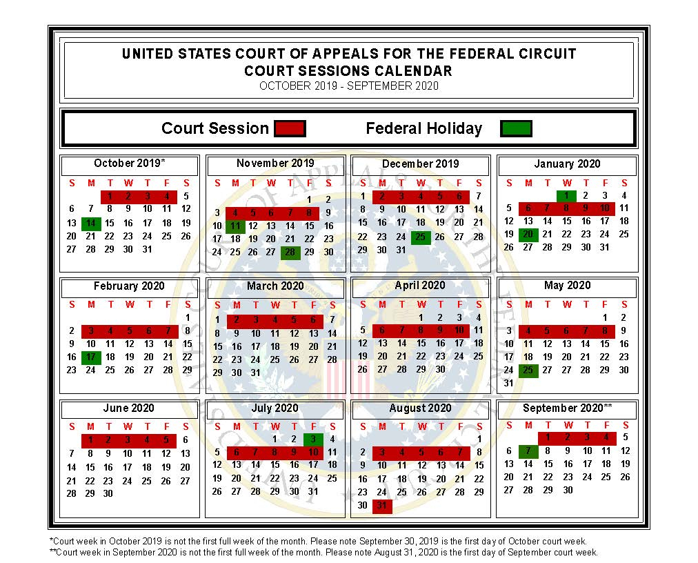 Calendar Of Sessions | Us Court Of Appeals For The Federal