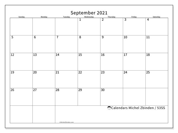 Calendar September 2021 - 53Ss - Michel Zbinden En