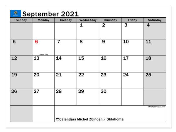 Calendar September 2021 - Oklahoma - Michel Zbinden En