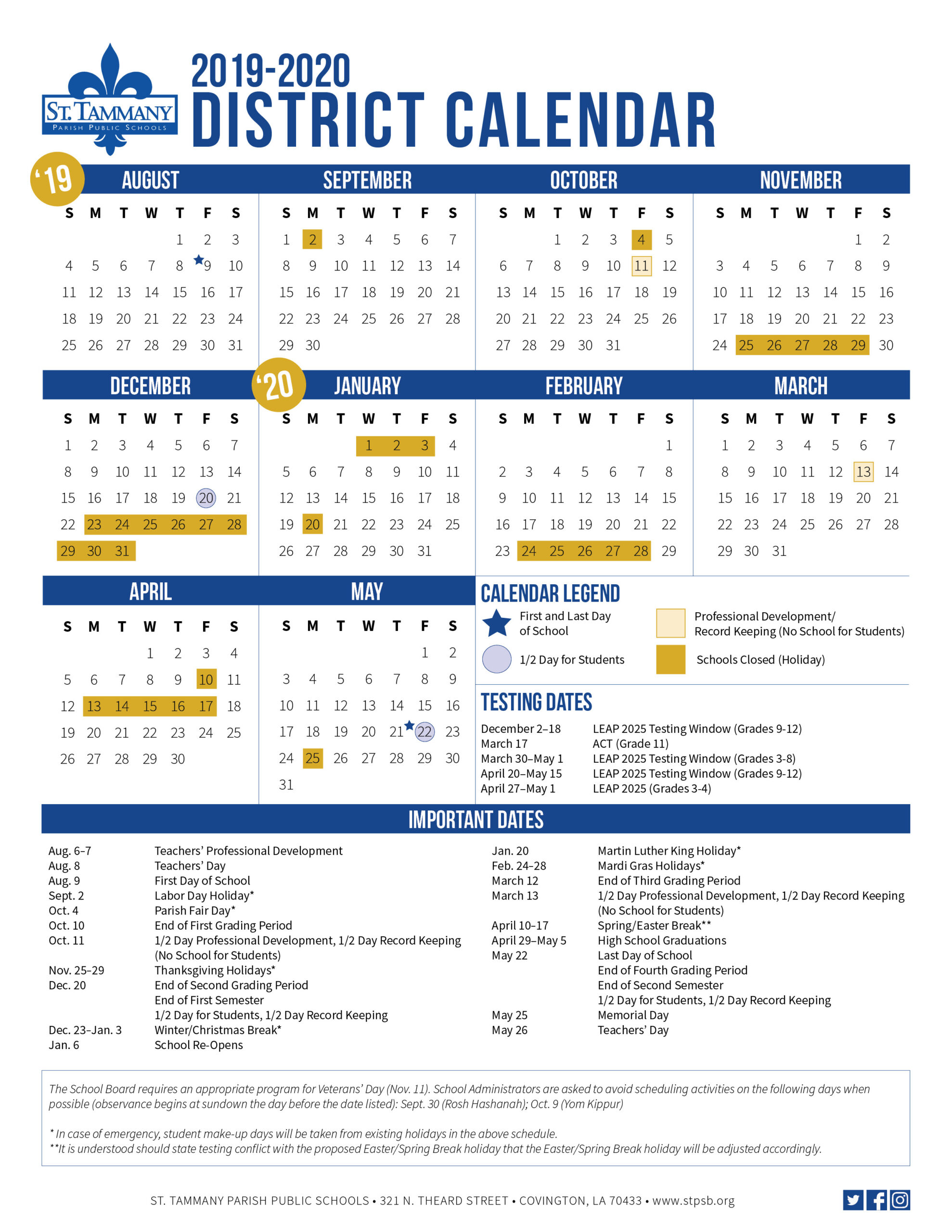 Calendar - St. Tammany Parish School Board