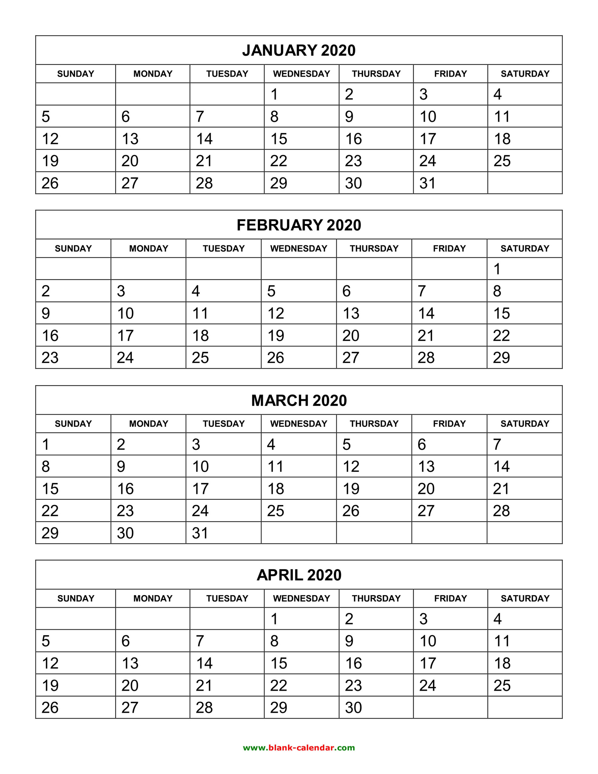 Calendar Templates 3 Months Per Page 2020 | Example