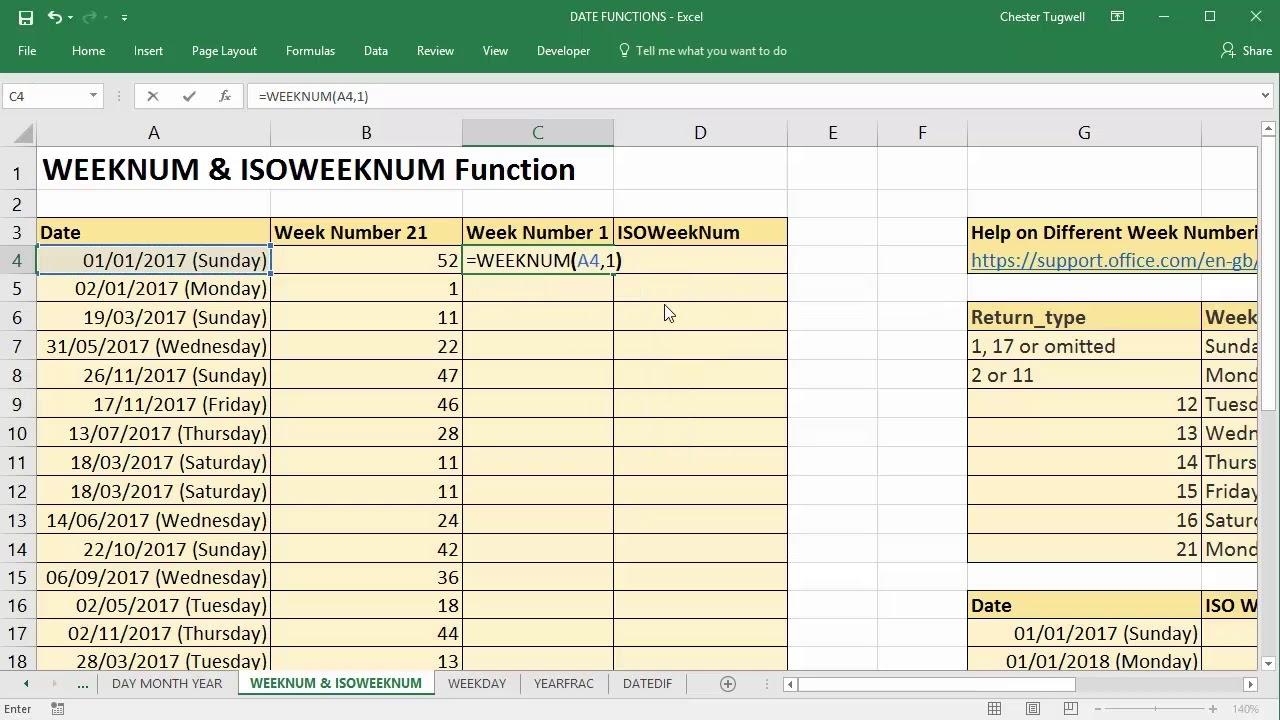 Calendar Week Based On Date Excel | Ten Free Printable