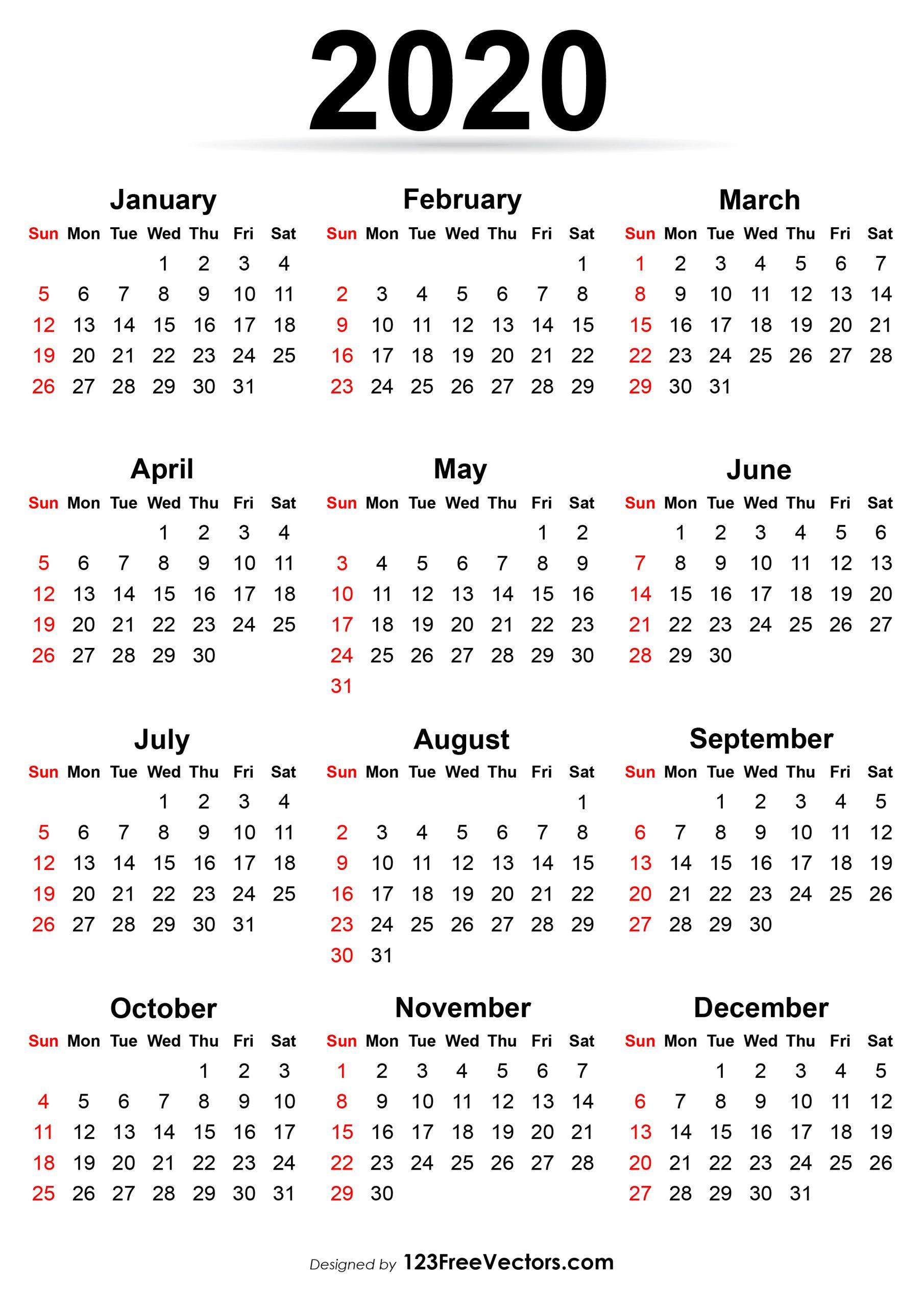 Catch 2020 Printable Calendar Sunday To Saturday