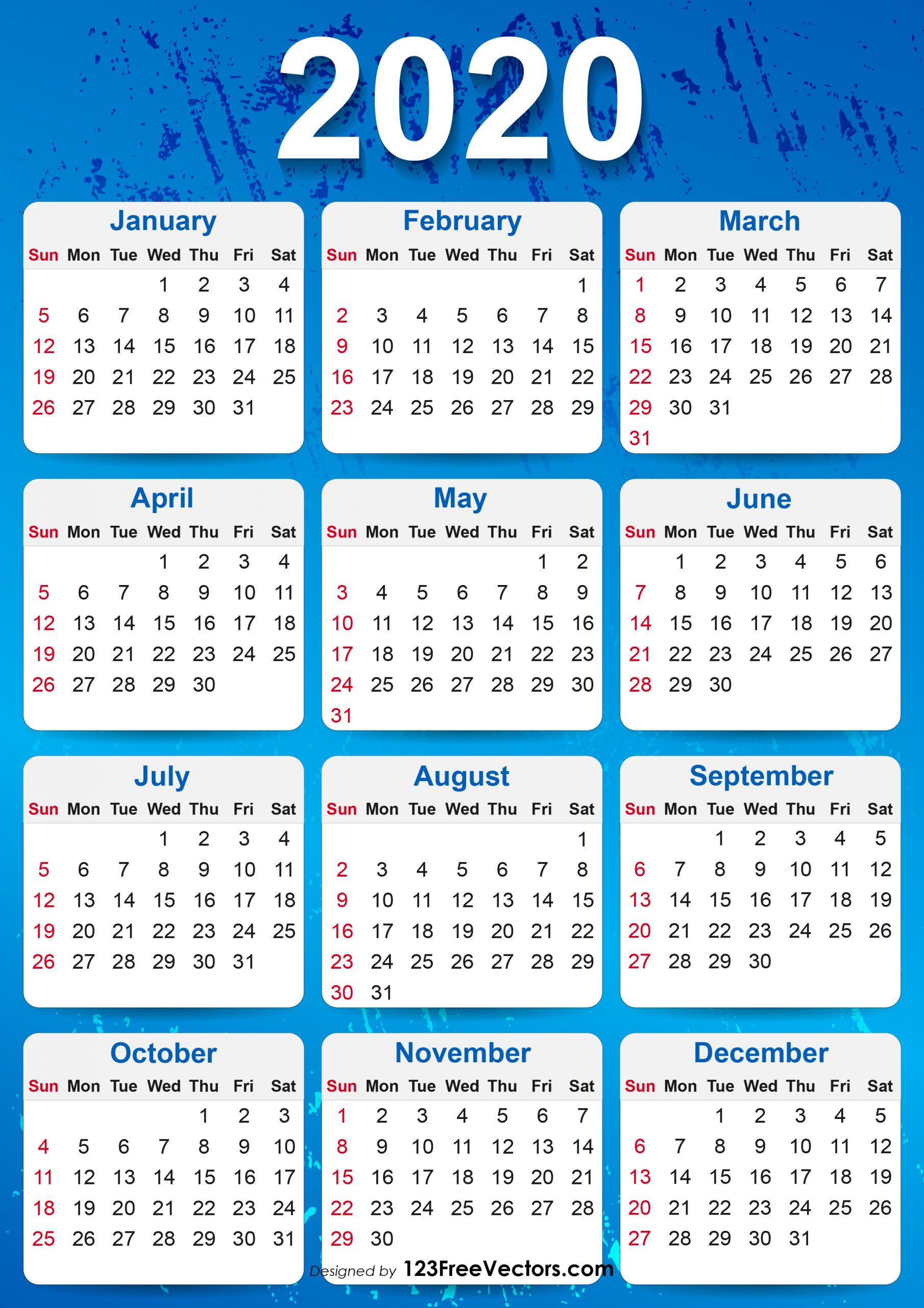 Collect Free 2020 Printable Pocket Calendar | Calendar