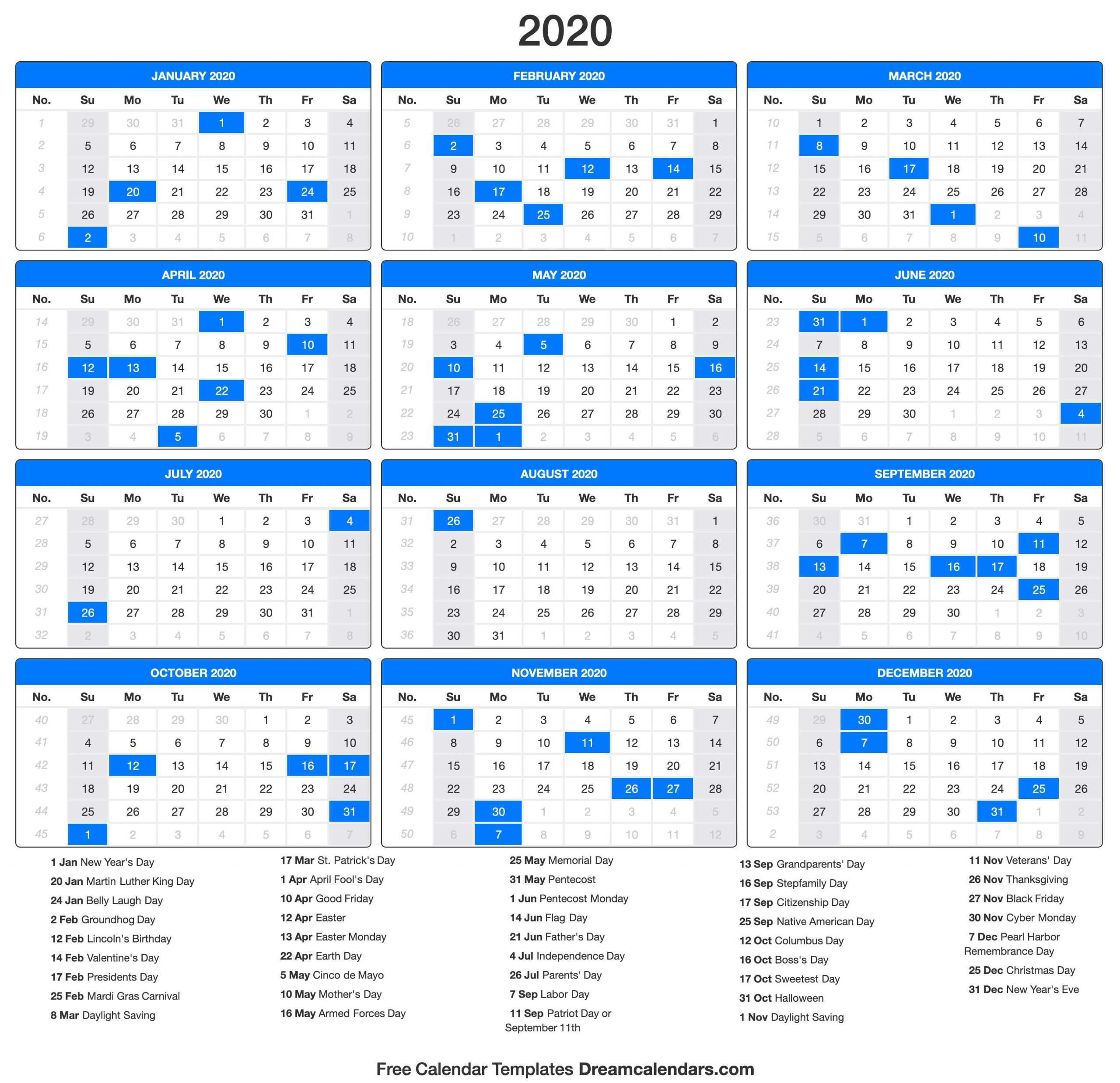 Collect One Page Yearly Calendar 2020-2020 | Calendar