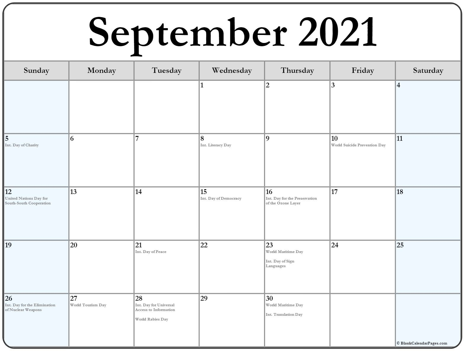Collection Of September 2021 Calendars With Holidays