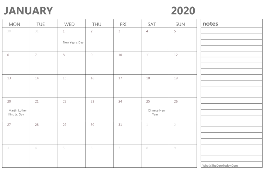 Create Your January 2020 Calendar Printable - Editable