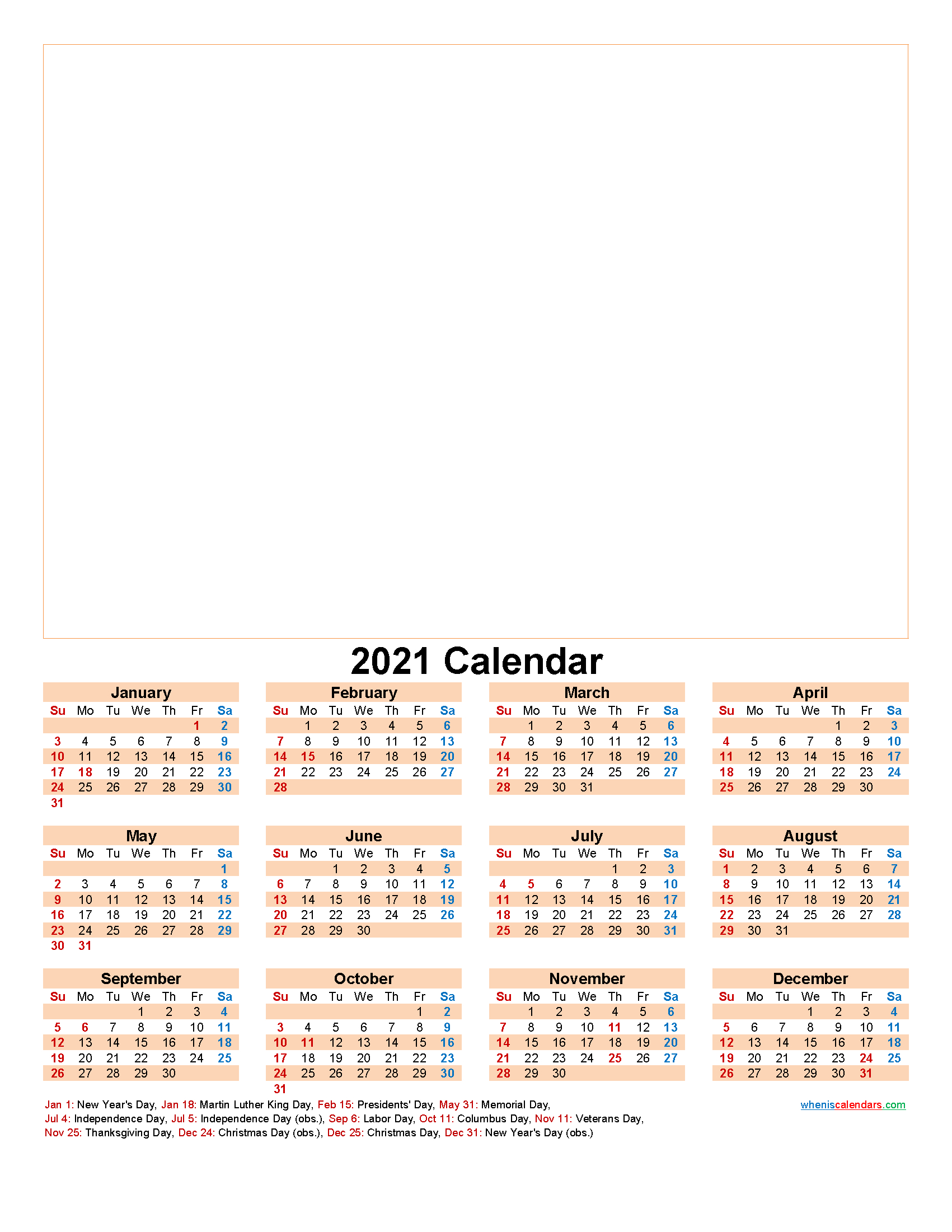 Create Your Own Photo Calendar Online Free 2021 - Template