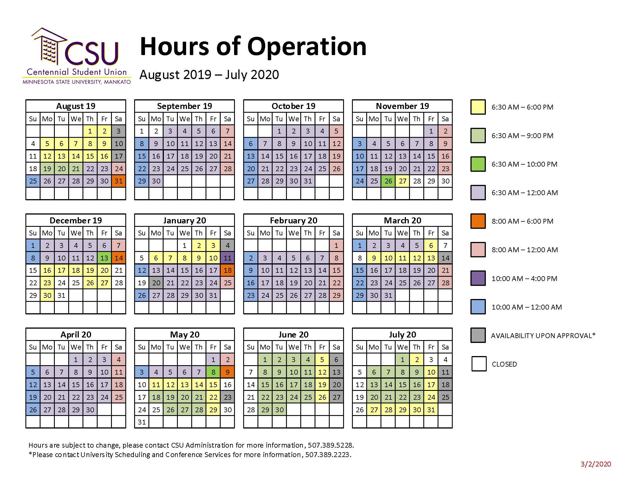 Csu Building Hours | Minnesota State University, Mankato