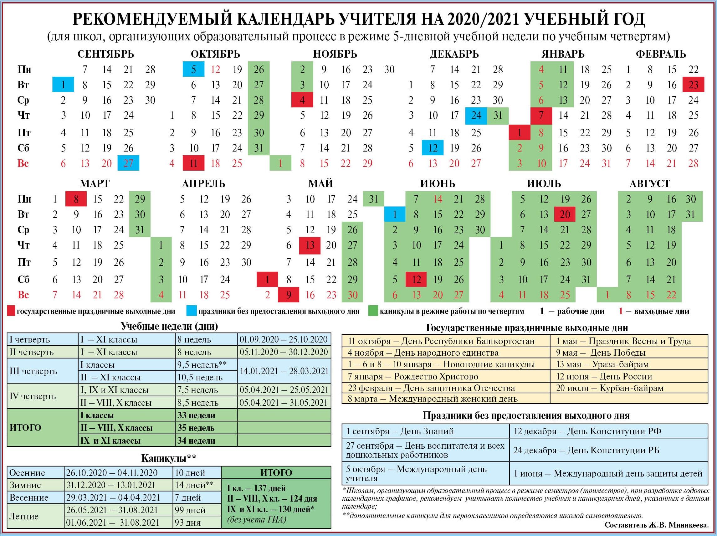 Календарь Учителя На 2020/2021 Год