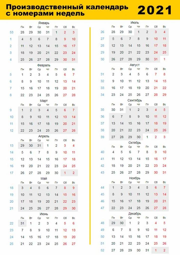 Производственный Календарь С Номерами Недель 2021 Год