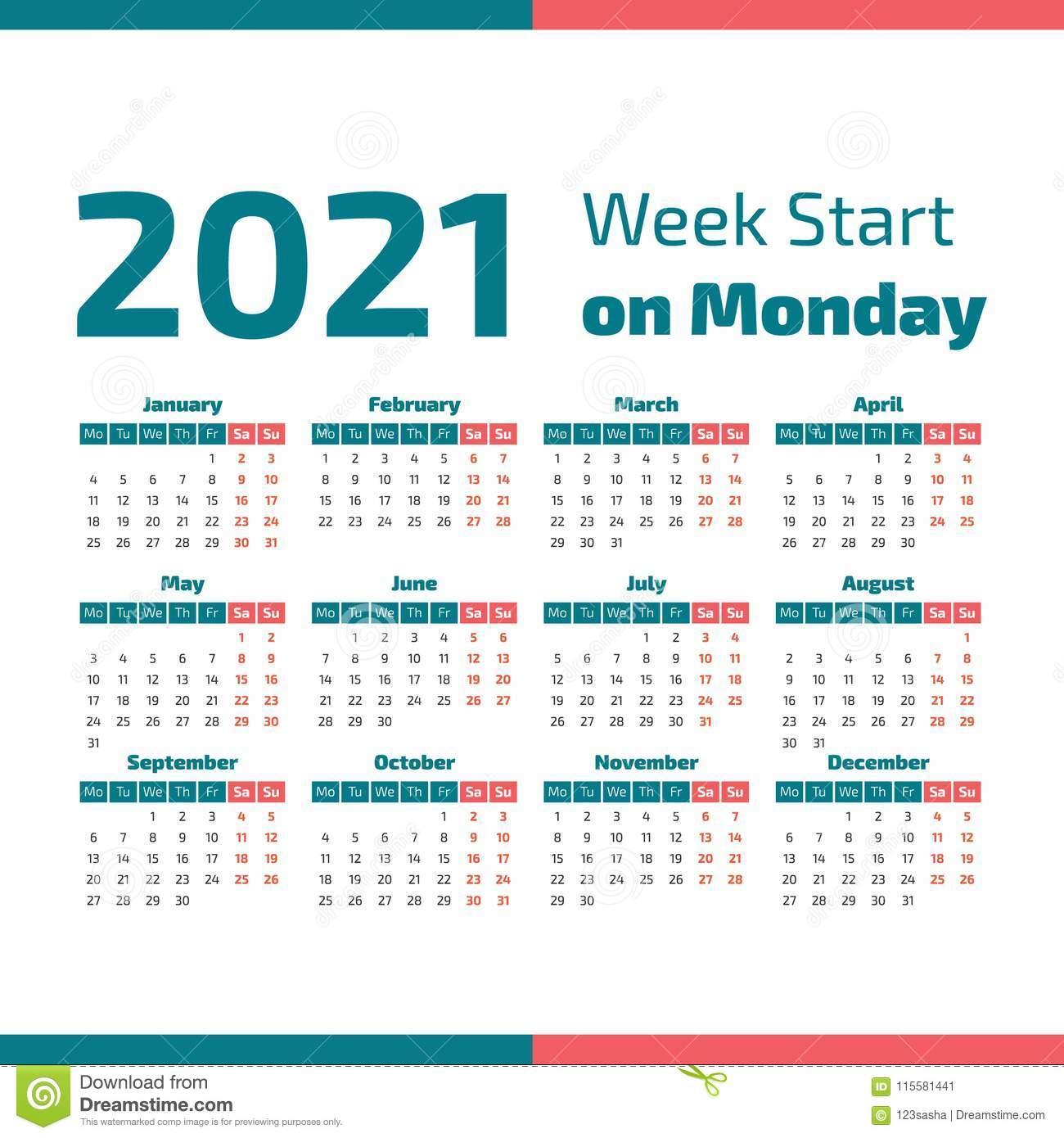 Простой Календарь 2021 Года Иллюстрация Вектора