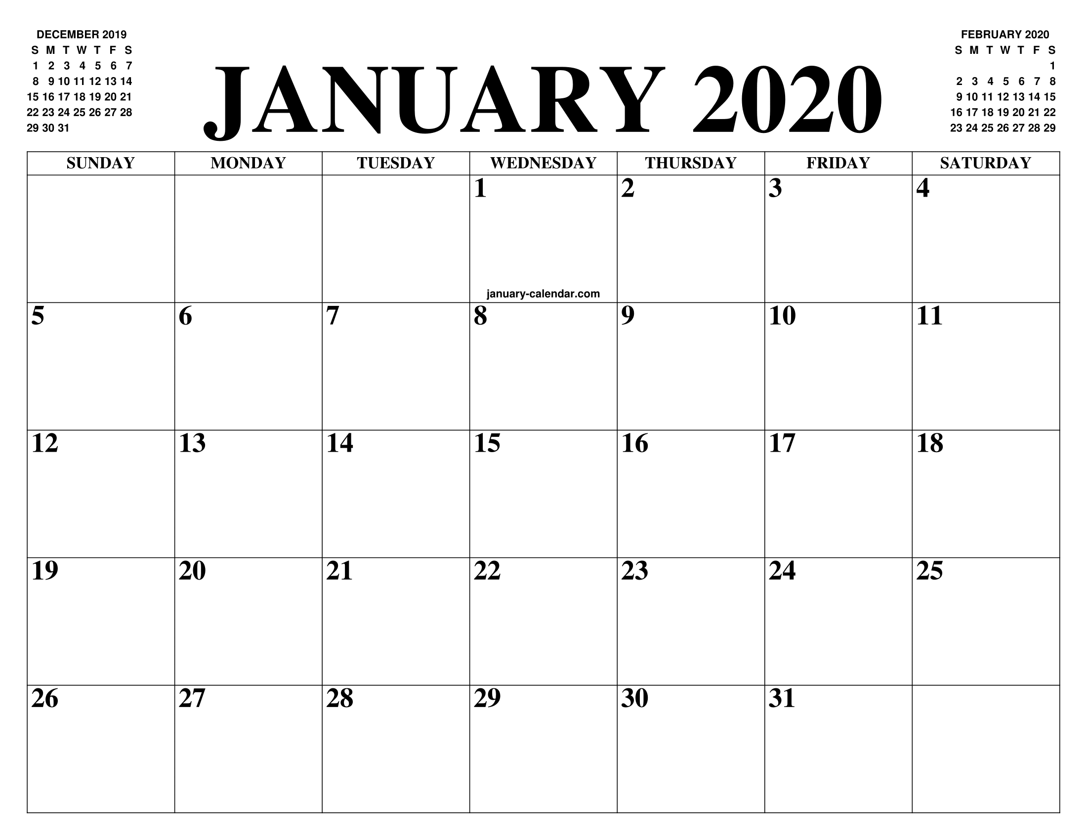 December 2020 Calender With Large Squares   Calendar