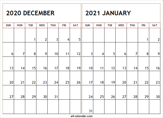 December 2020 January 2021 Calendar A4 Printable - Pinterest