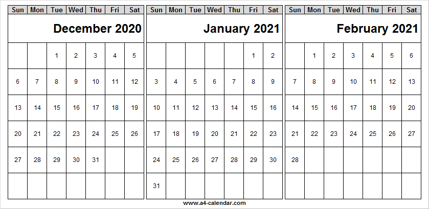 December 2020 To February 2021 Calendar Blank - Month Of
