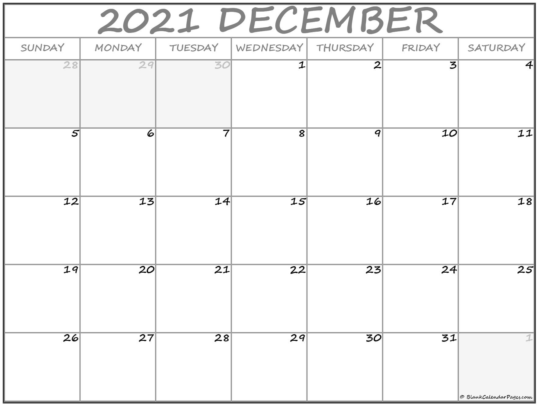Printable Pocket Calendar December 2021