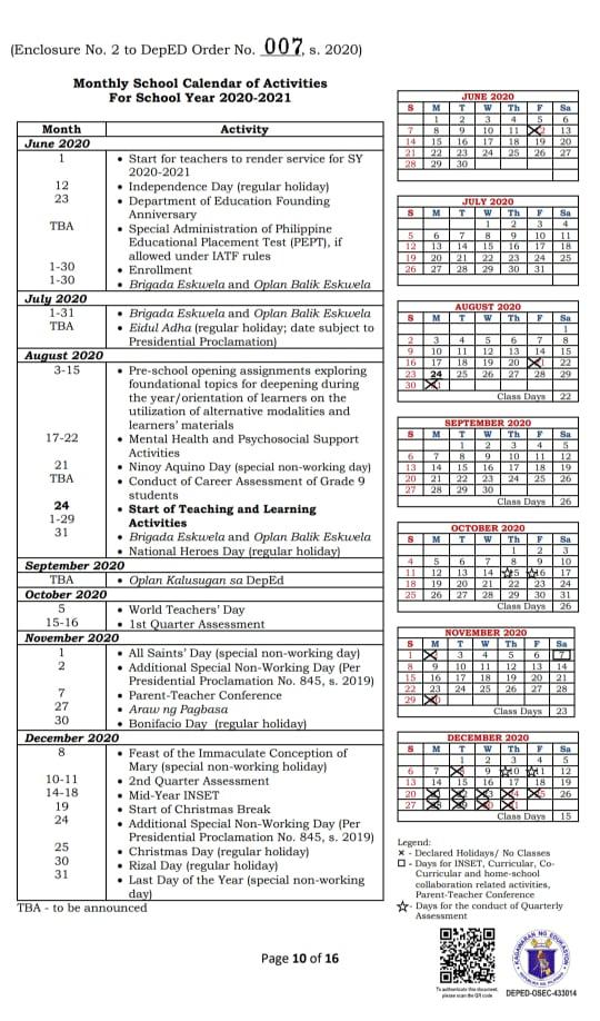 Deped School Calendar 2020 To 2021 - News-To-Gov
