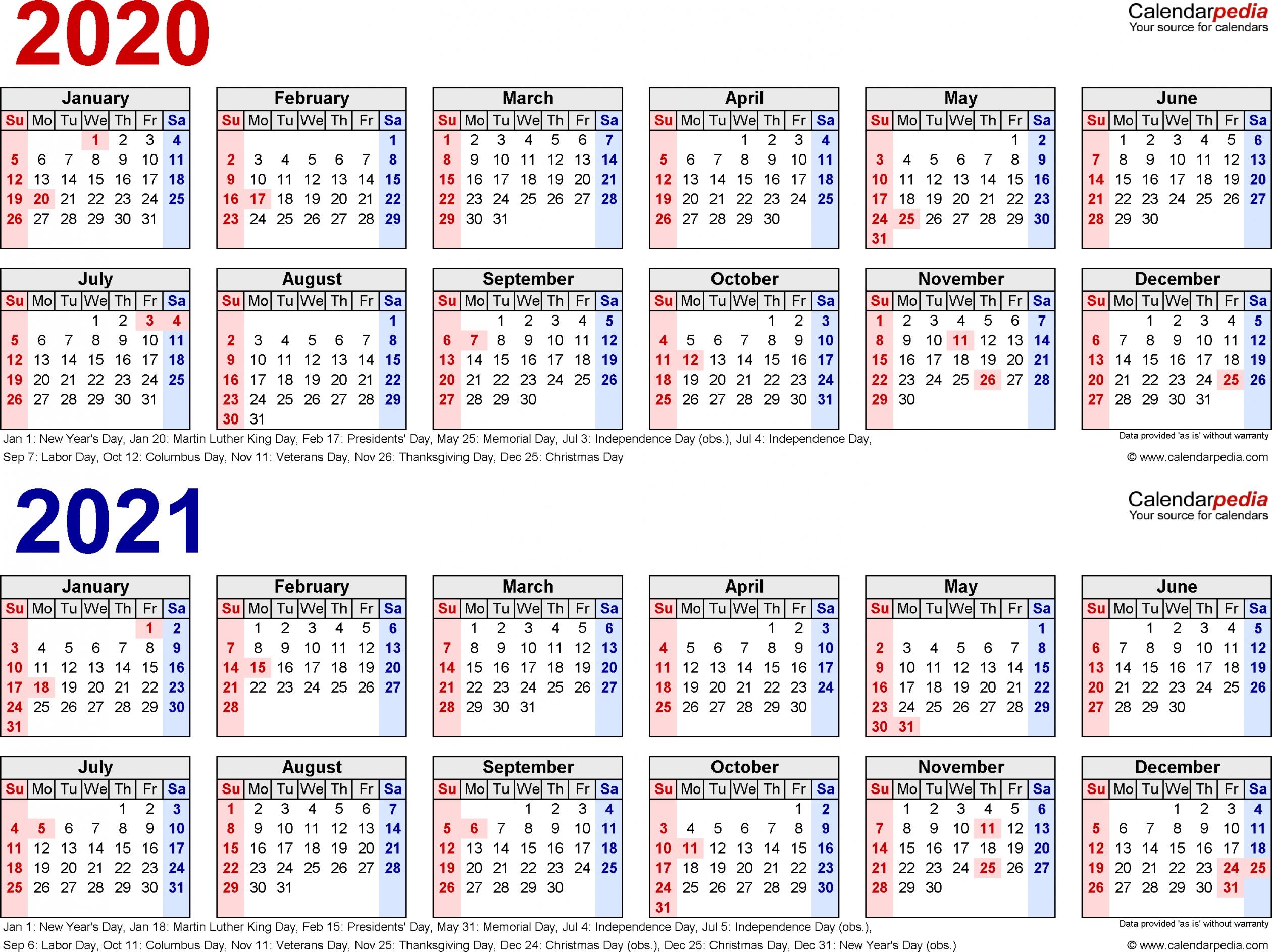 Download 2020-2021 Printable Calendar | Free Letter Templates