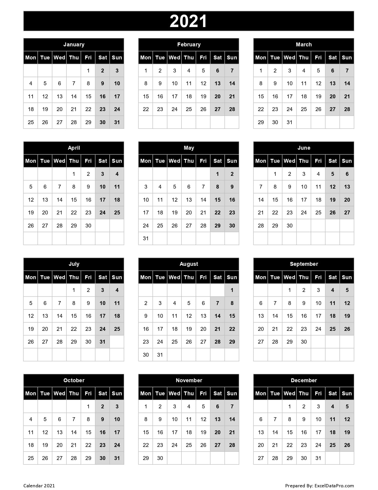 Download 2021 Yearly Calendar (Mon Start) Excel Template