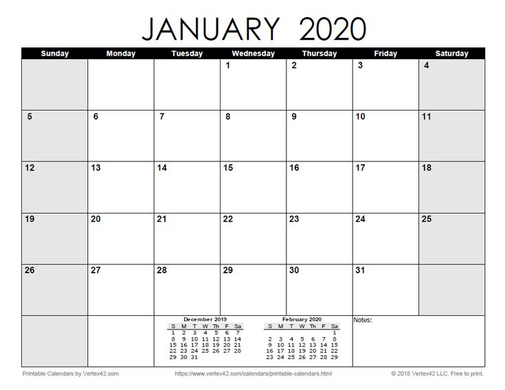 Download A Free Printable Monthly 2020 Calendar From