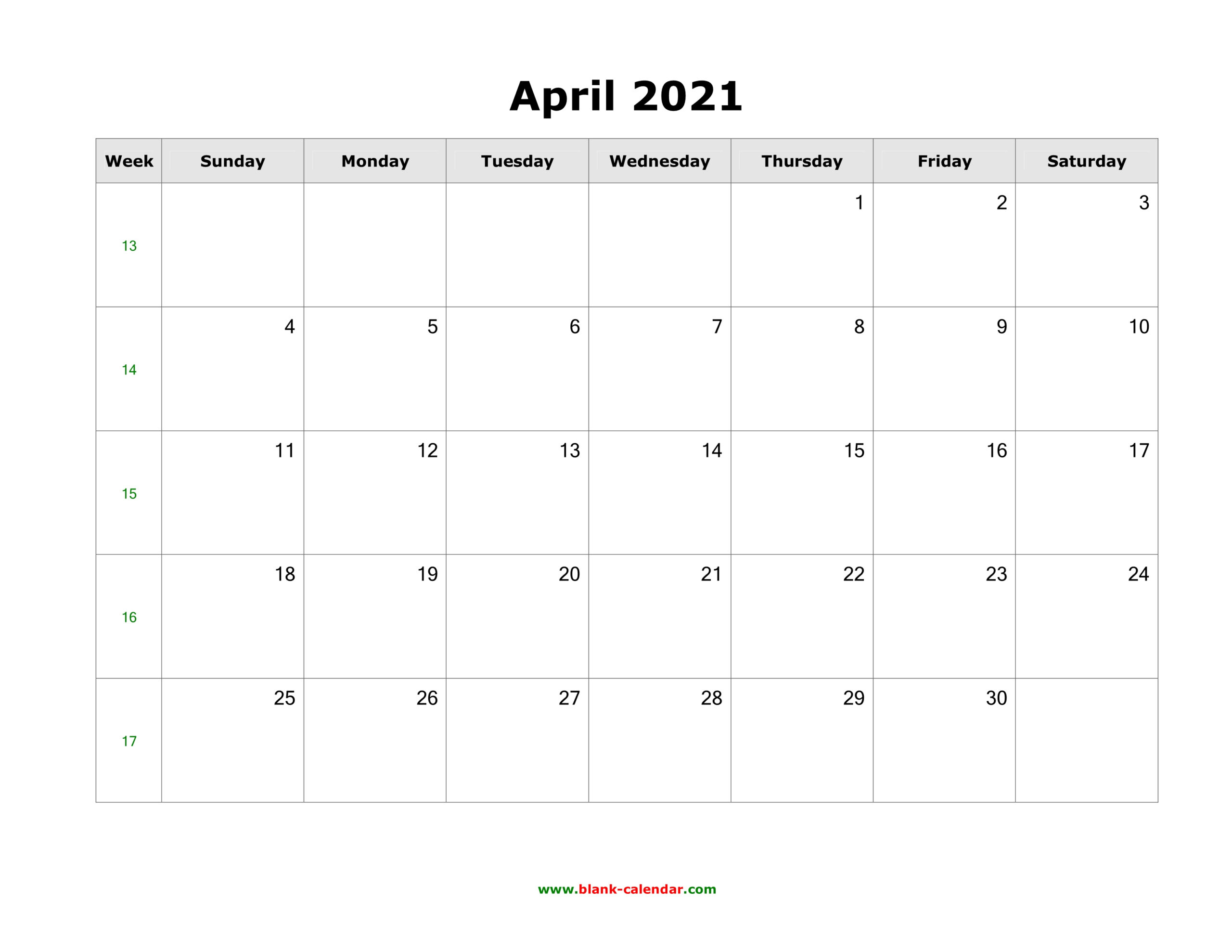 Download April 2021 Blank Calendar (Horizontal)