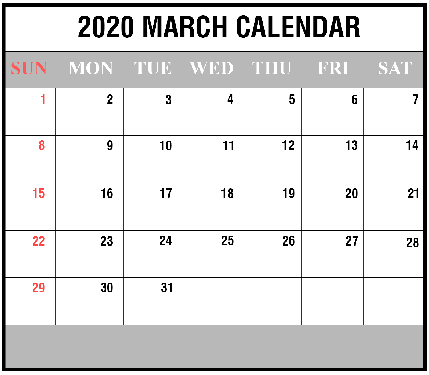 Download Free March 2020 Printable Calendar In Pdf Excel