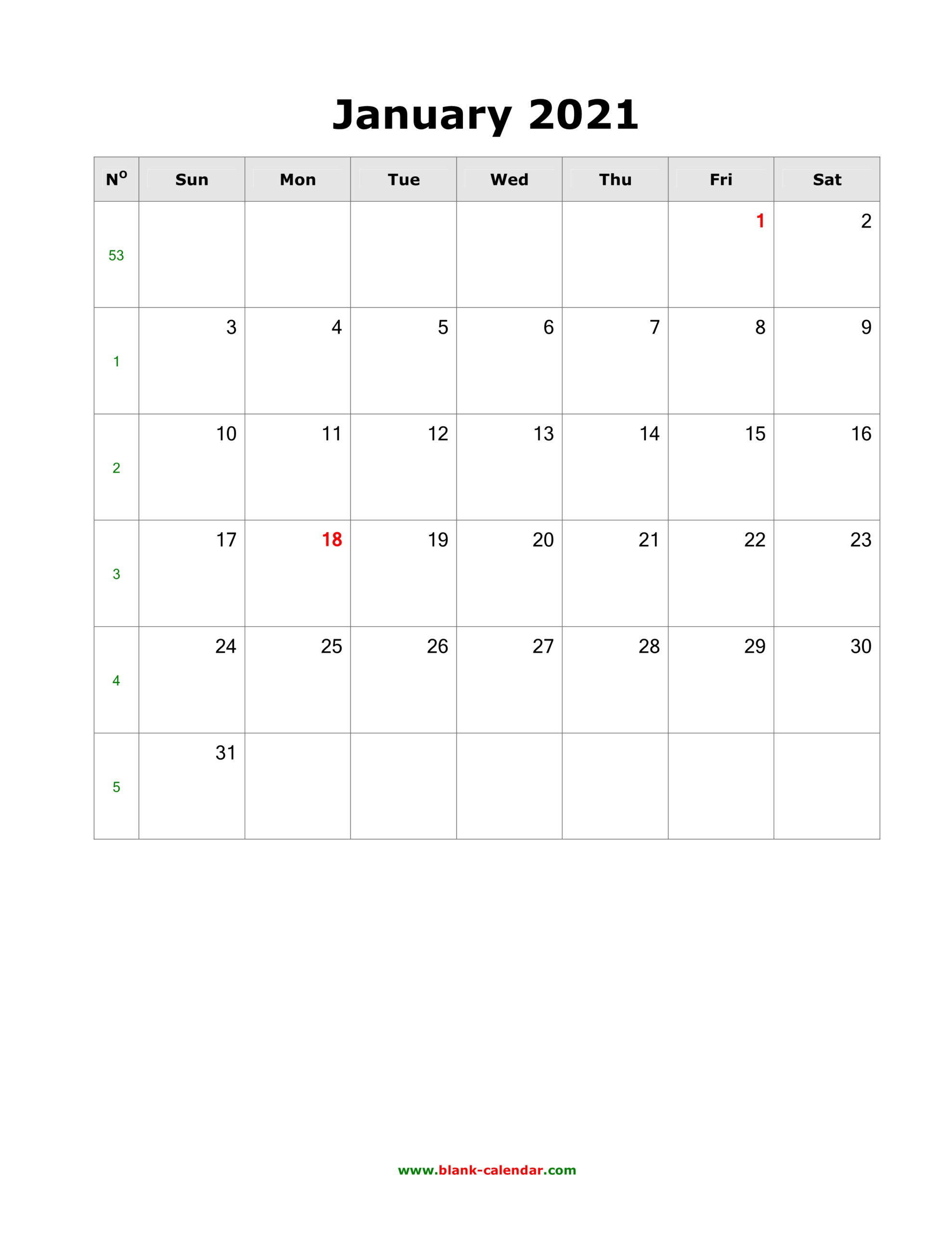 Download January 2021 Blank Calendar (Vertical)