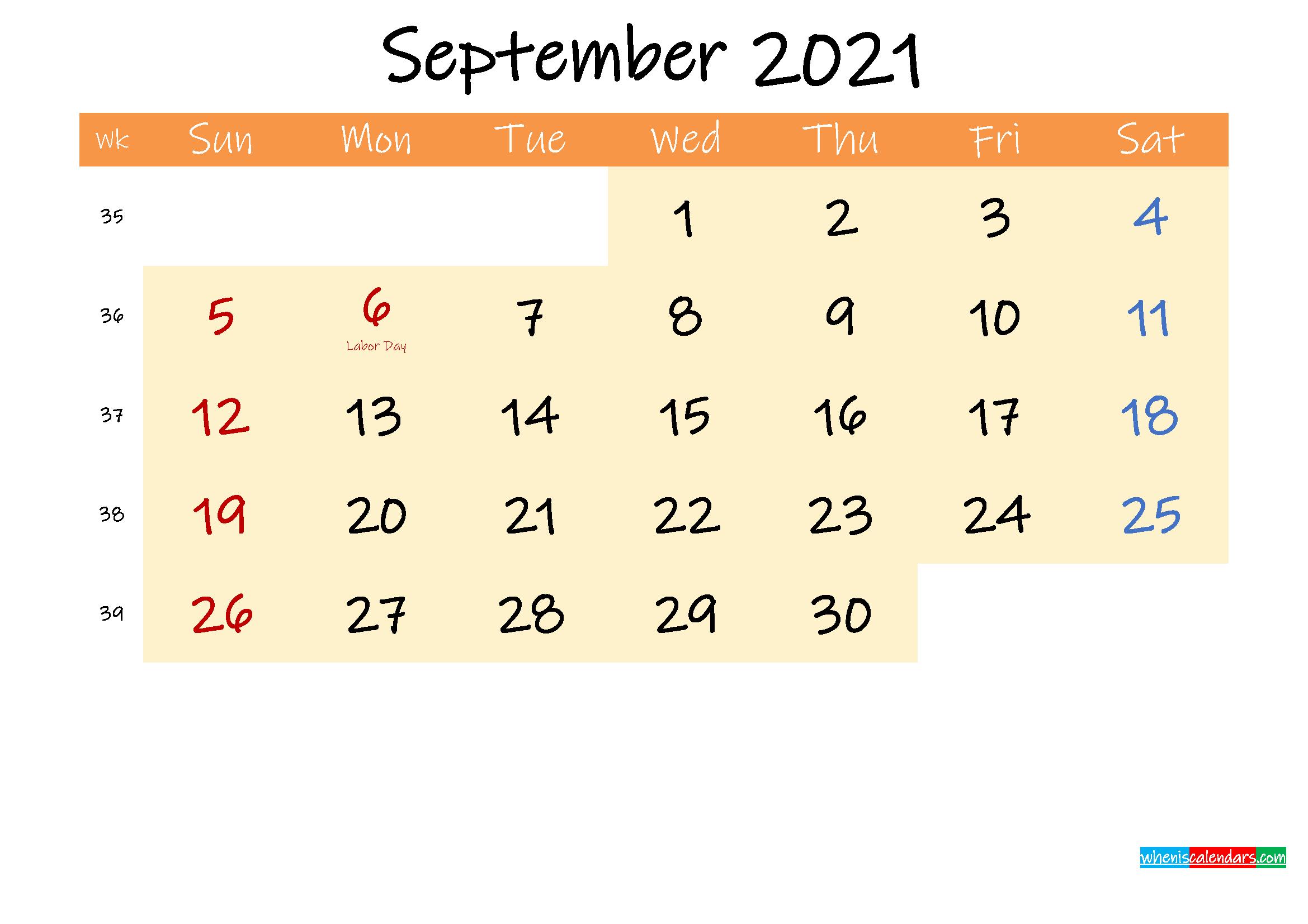 Editable September 2021 Calendar – Template No.ink21M249