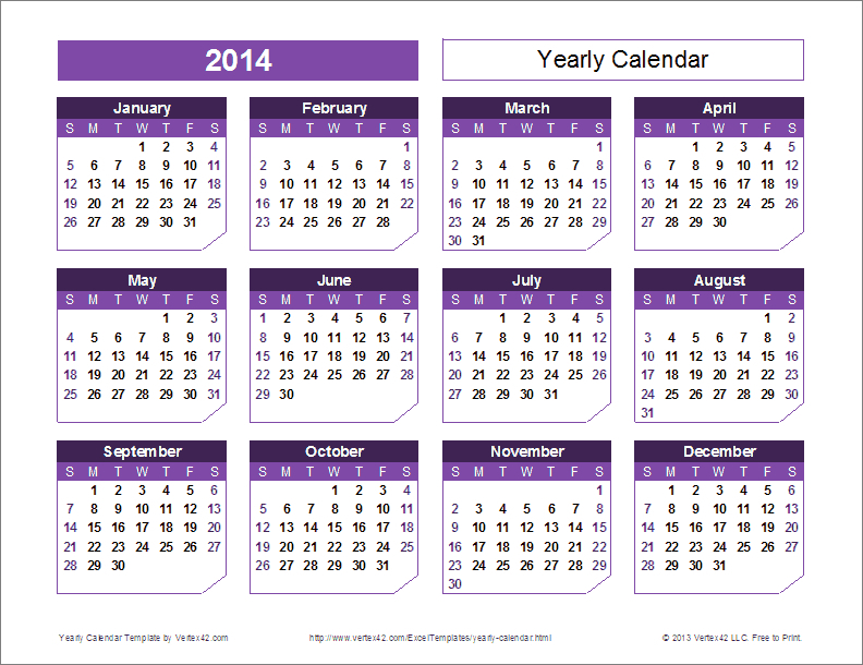 Excel Yearly Calendar Template – Printable Week Calendar