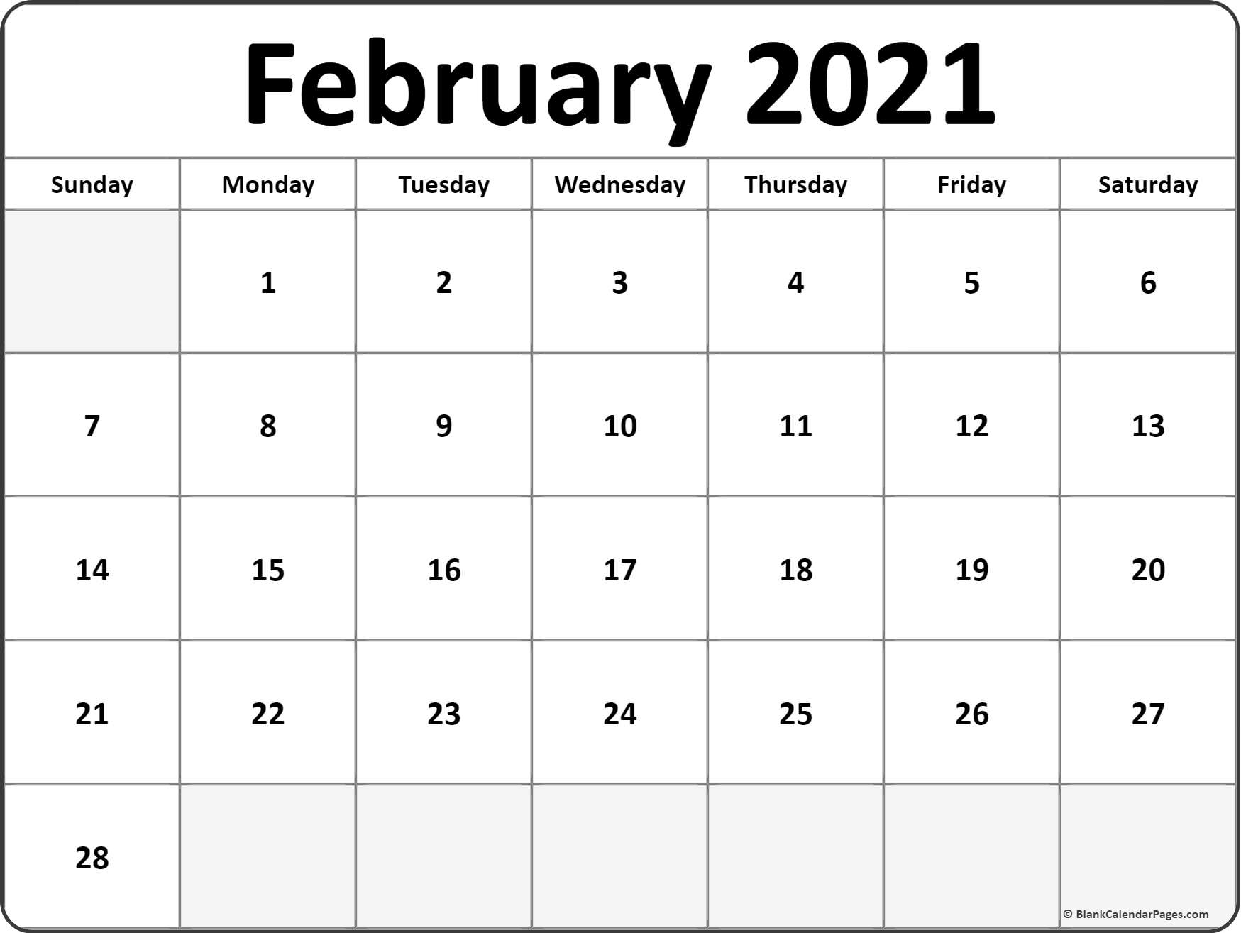 February 2021 Calendar | Free Printable Monthly Calendars