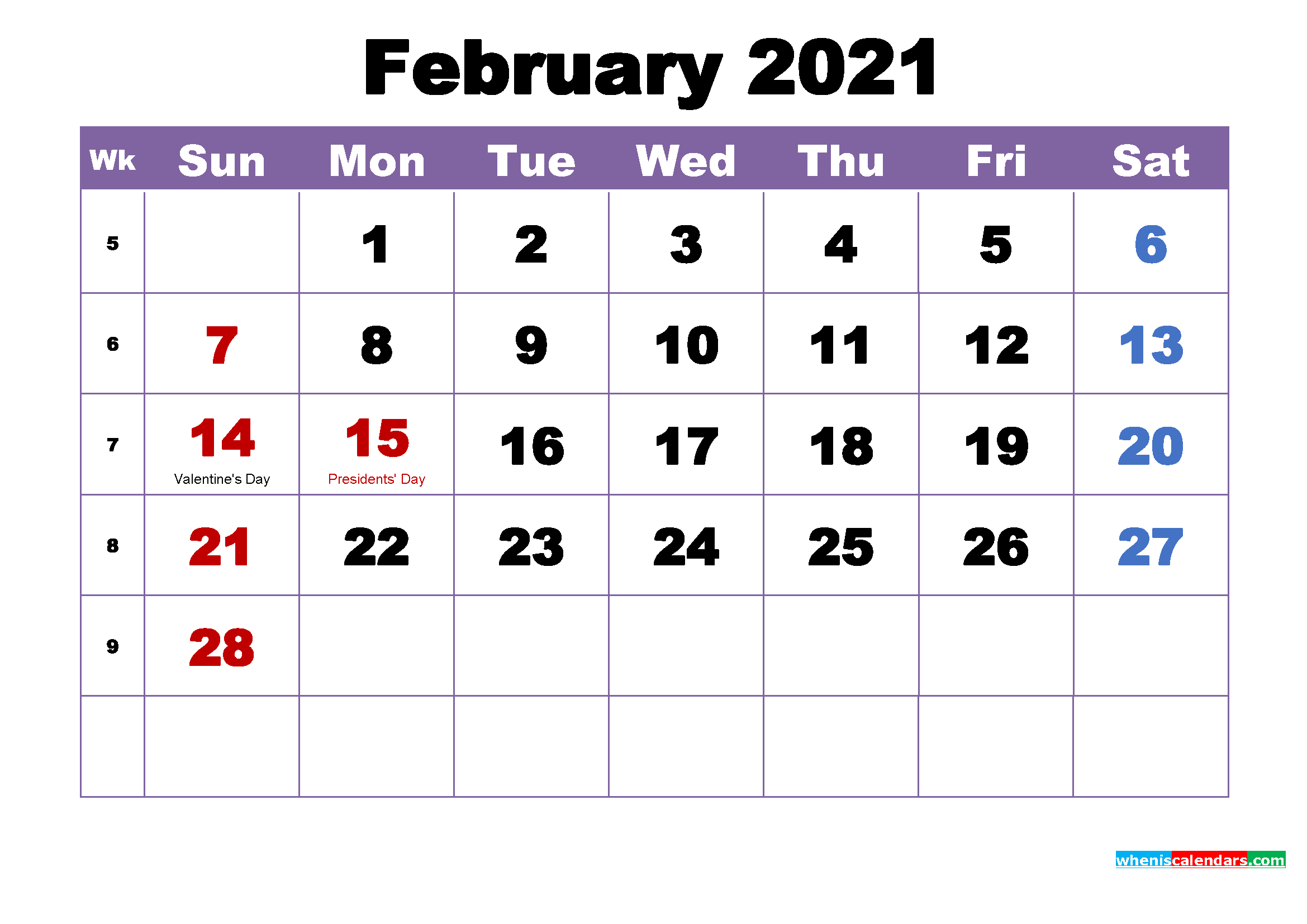 Large Number 2021 Free Calendar | Calendar Printables Free ...