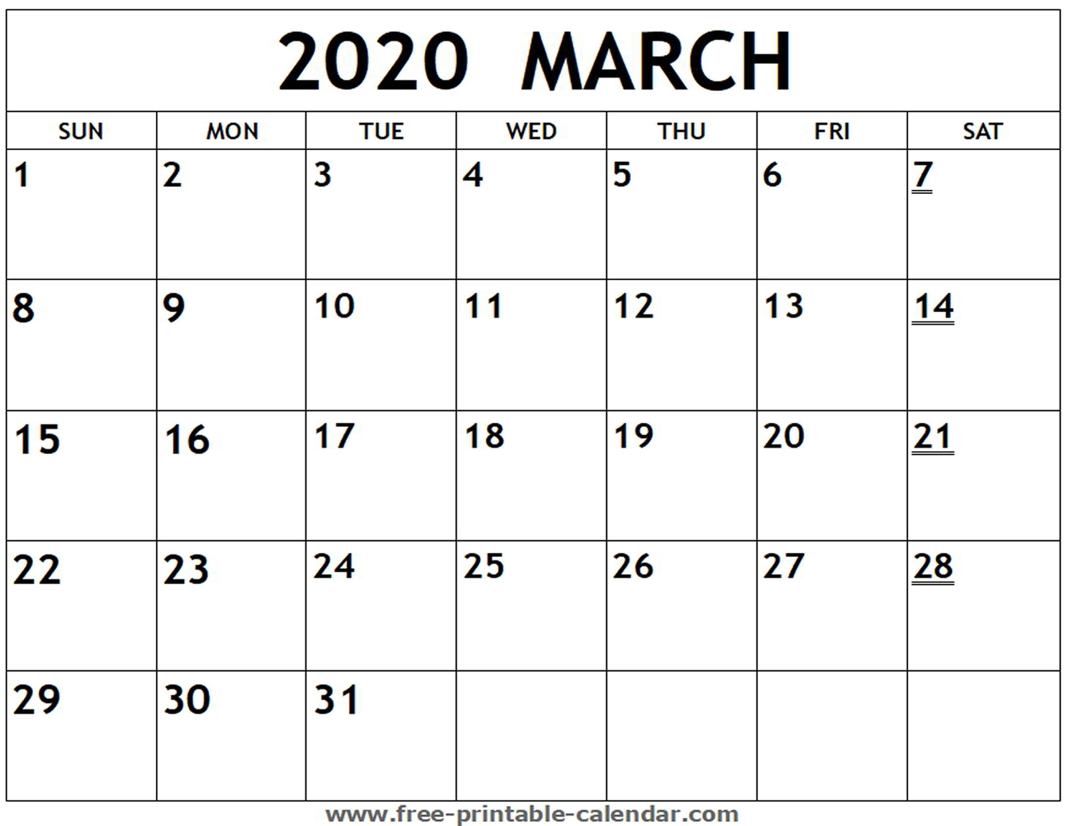 Fill In Blank Calendar 2020 | Free Calendar Template Example