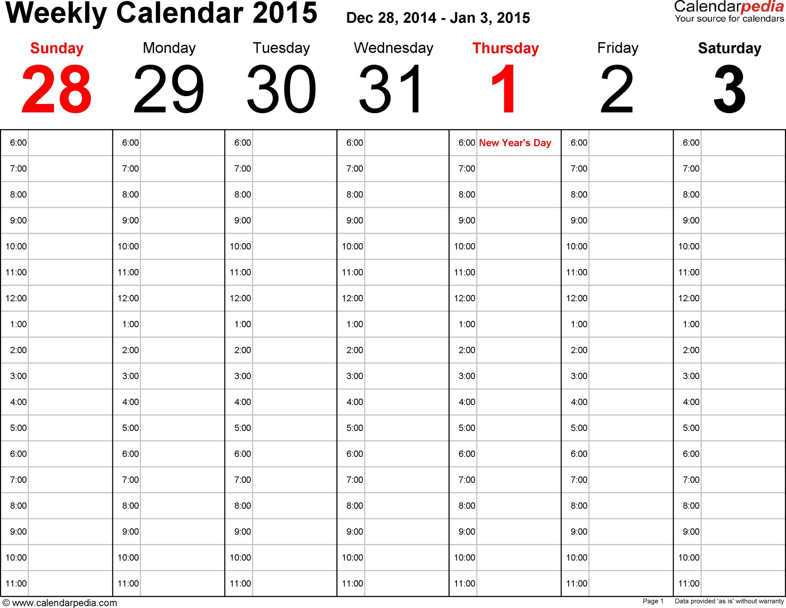 Fillable 1 Week Calendar | Ten Free Printable Calendar