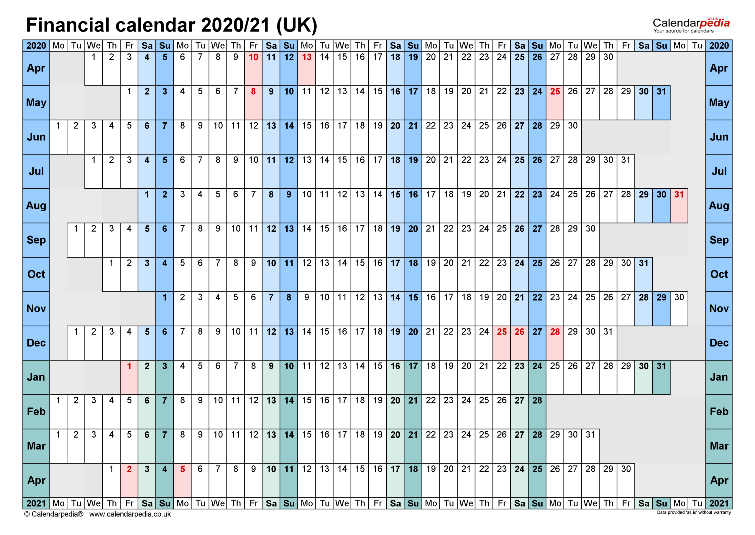 Financial Calendars 2020/21 Uk In Pdf Format