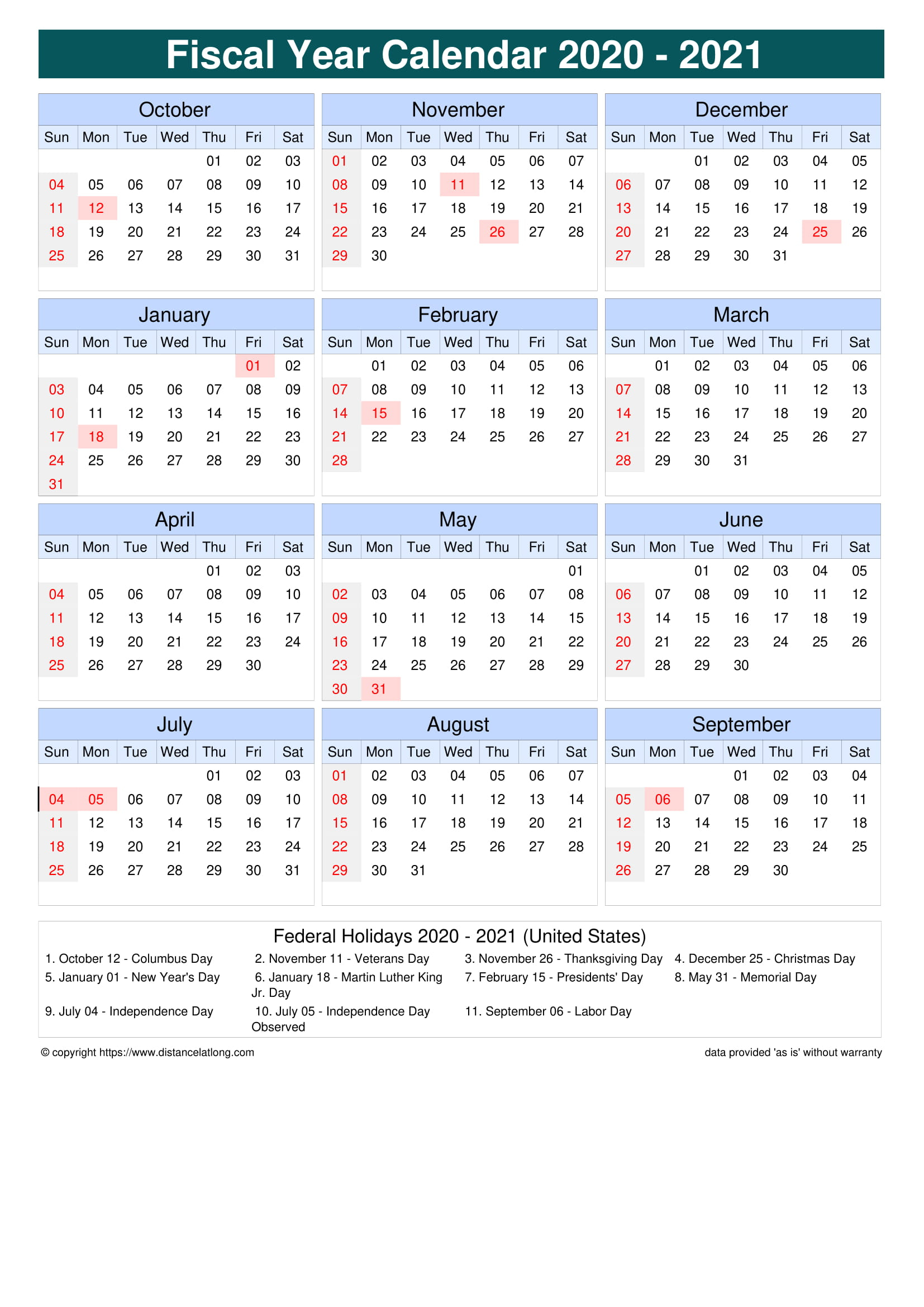 Fiscal Portrait Calendar Vertical Outer Border Sunday To