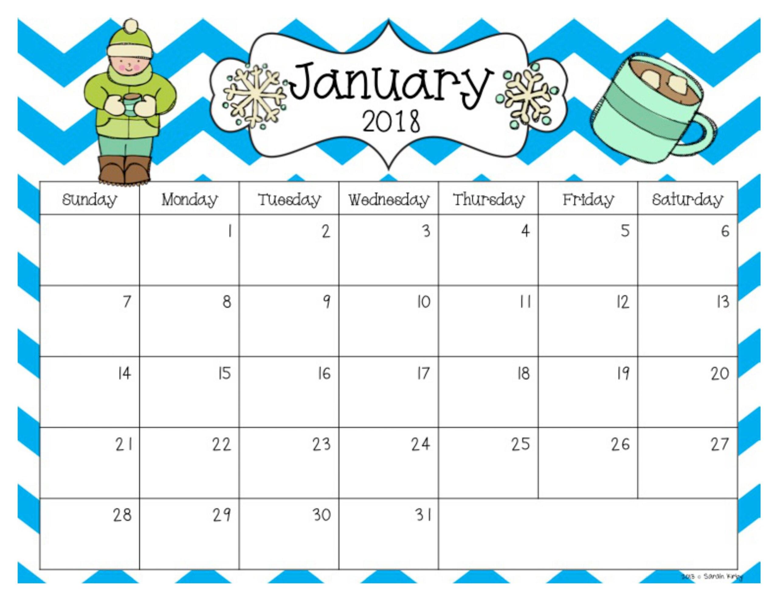 Free 2018 And 2019 Calendar | School Calendar, Preschool