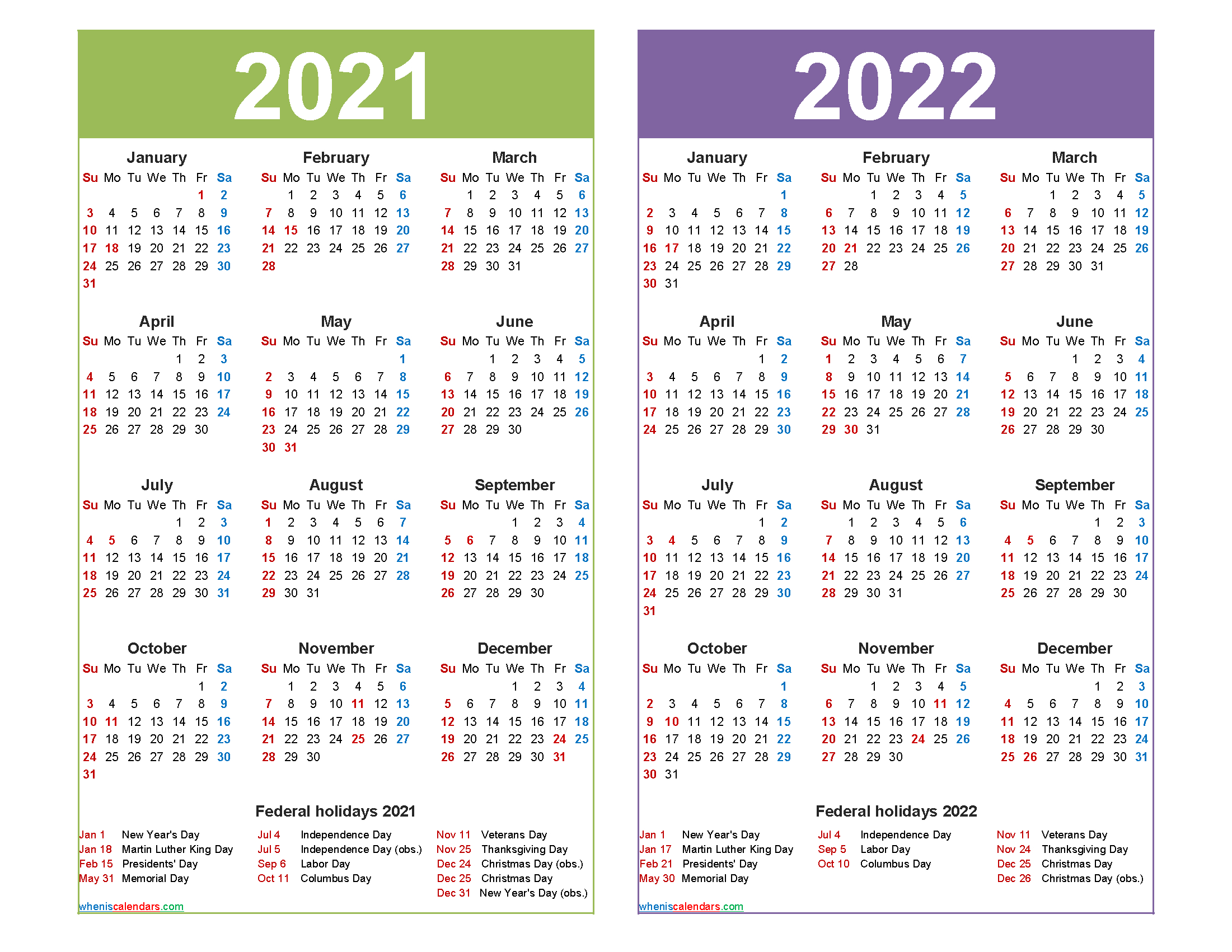 Free 2021 And 2022 Calendar Printable Word, Pdf | Free