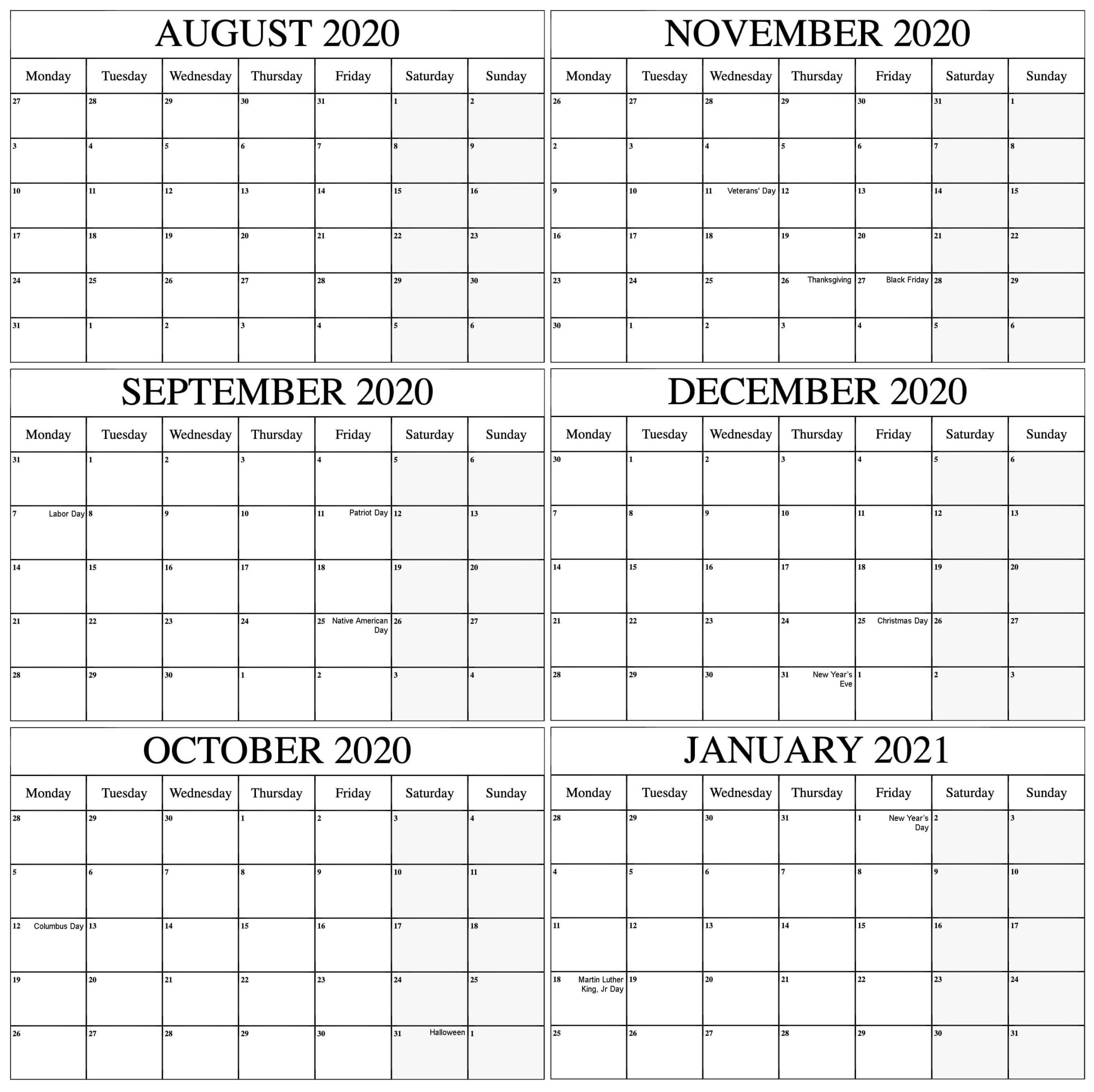 Free August 2020 To January 2021 Calendar Template Excel