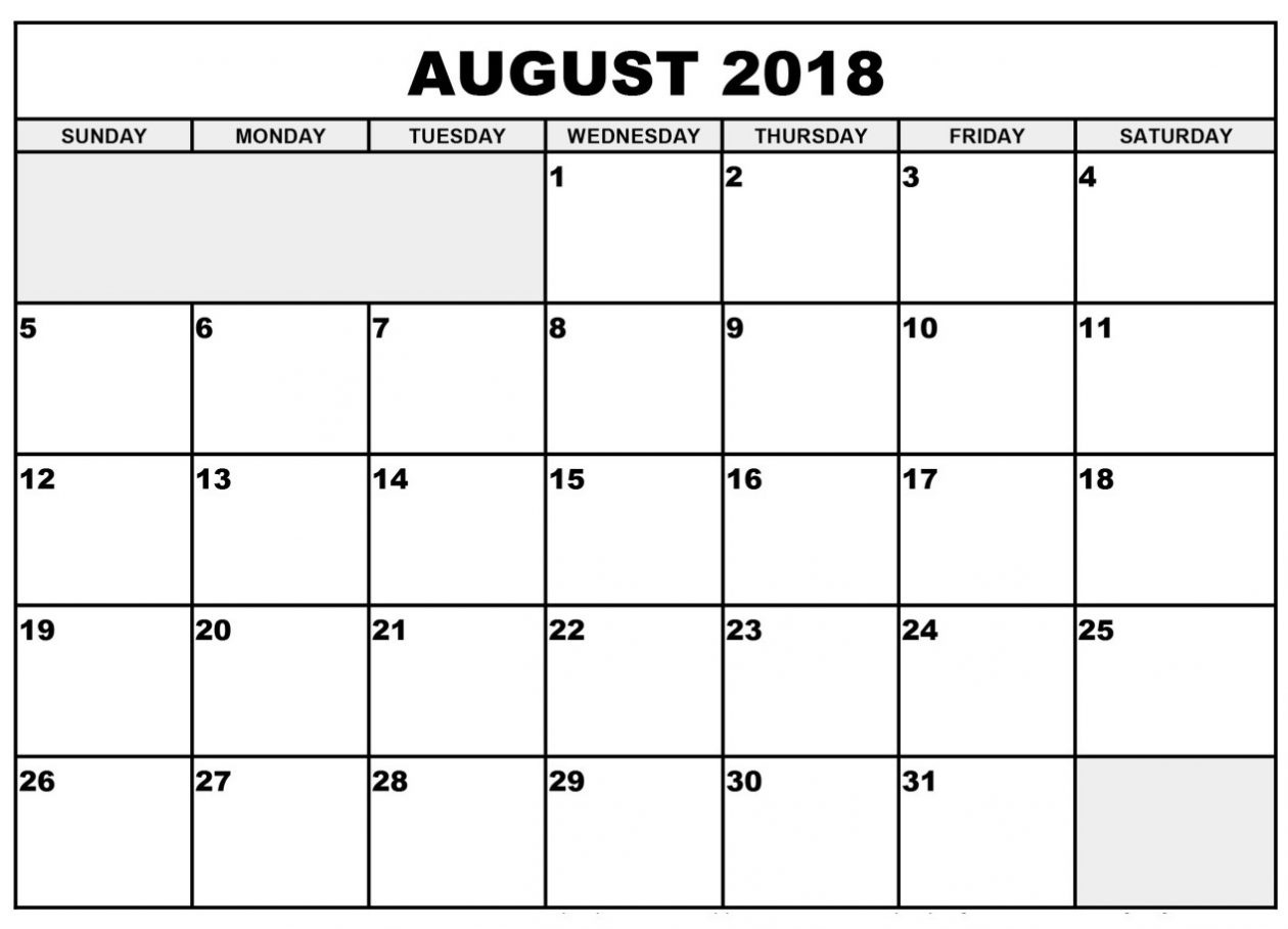 Free August Printable Calendar 2018 – Template Calendar Design