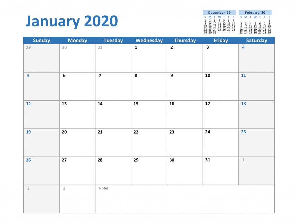 Free Blank January 2020 Calendar Printable Pdf, Word