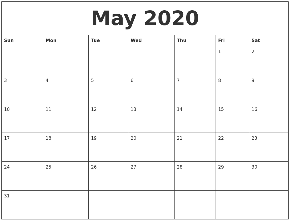 Free Blank May Calendar 2020 Printable Template In 2020