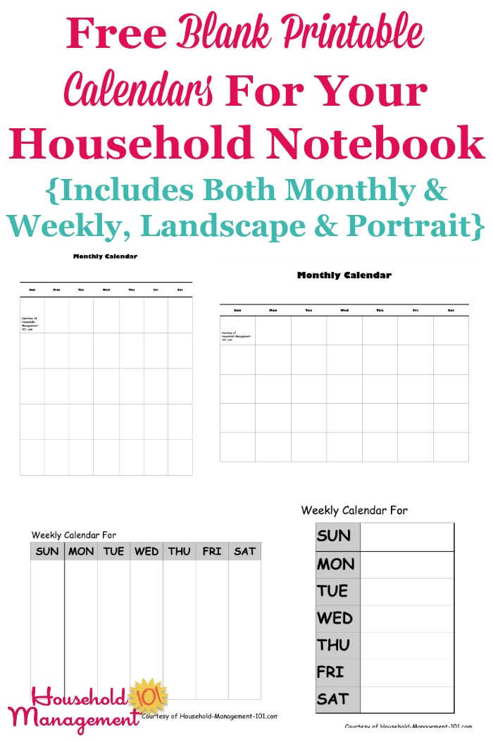 Free Blank Printable Calendars For Your Household Notebook