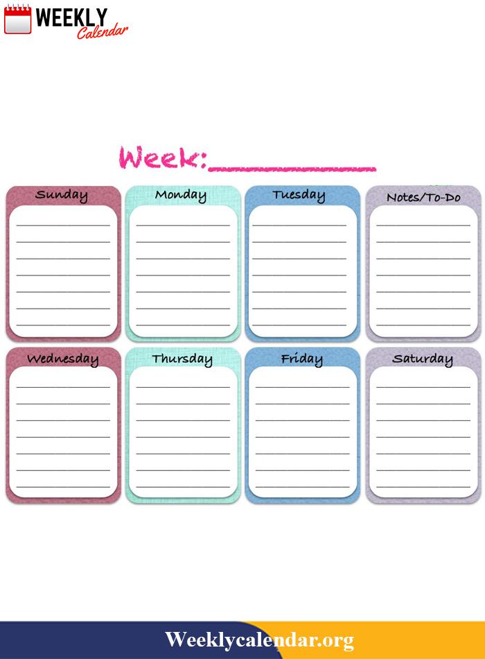 Free Blank Printable Weekly Calendar 2021 Template In Pdf