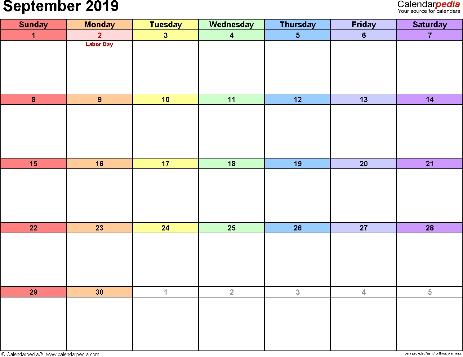 Free Calendar 2019 Printable For 12 Months – Template
