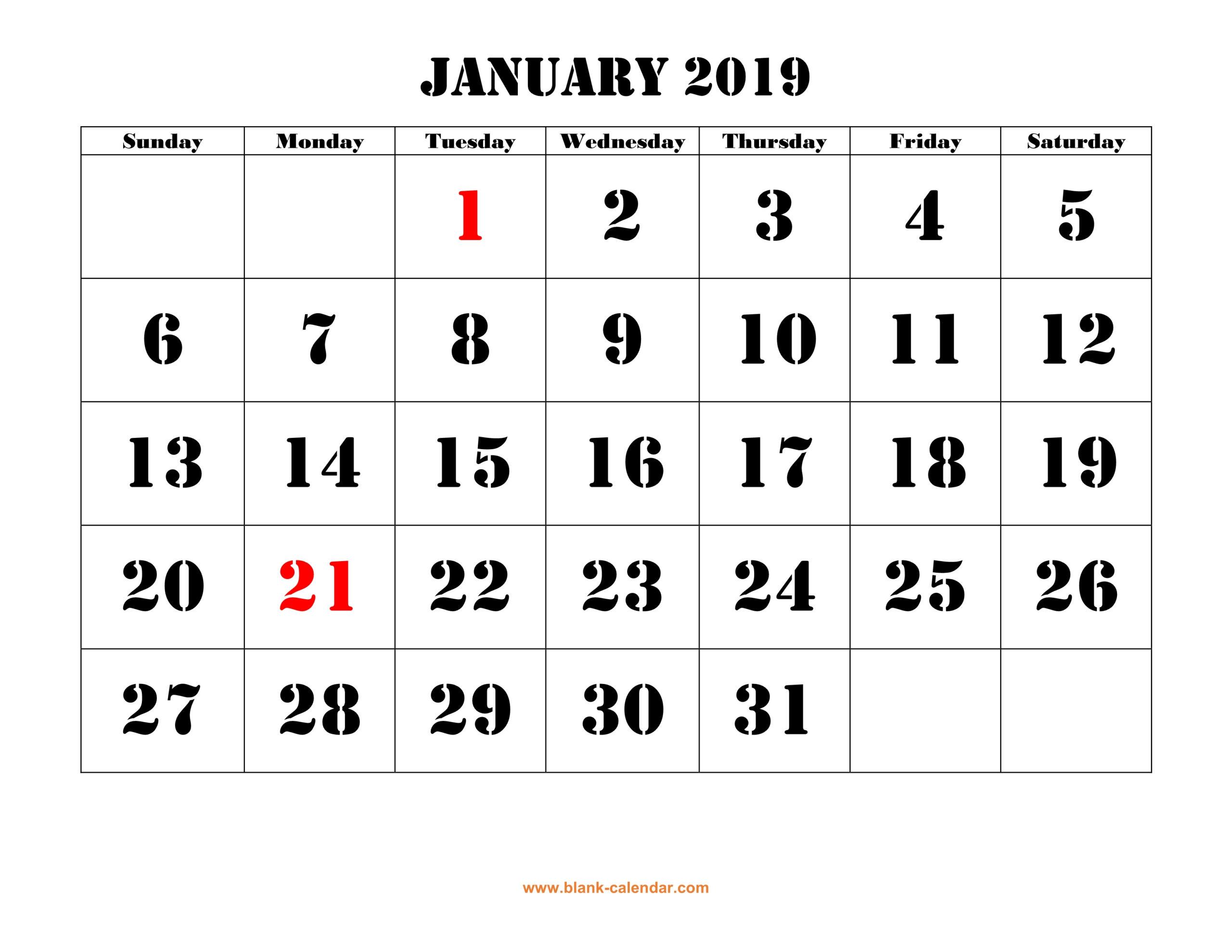 Free Download Printable Calendar 2019, Large Font Design