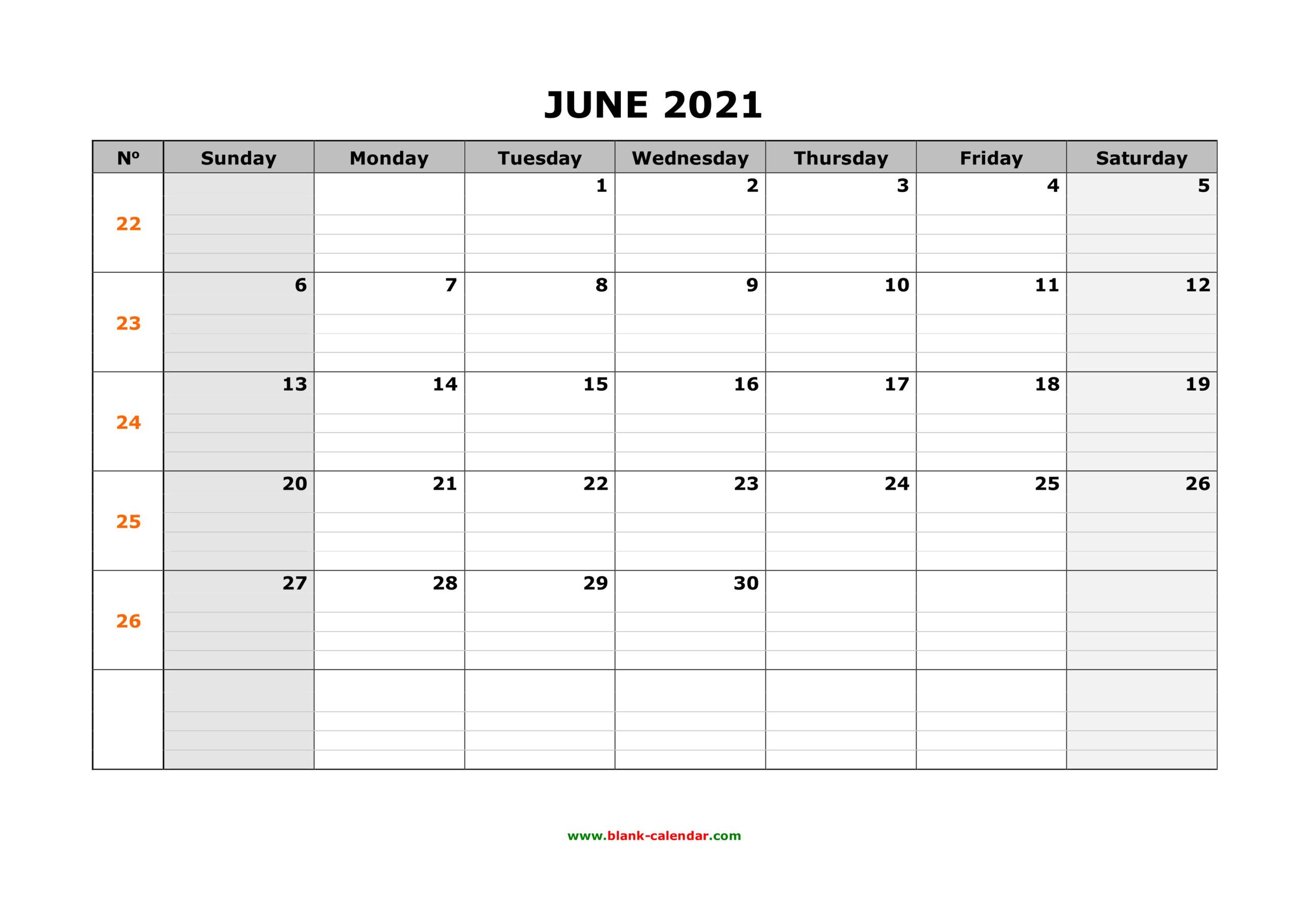 Free Download Printable June 2021 Calendar, Large Box Grid