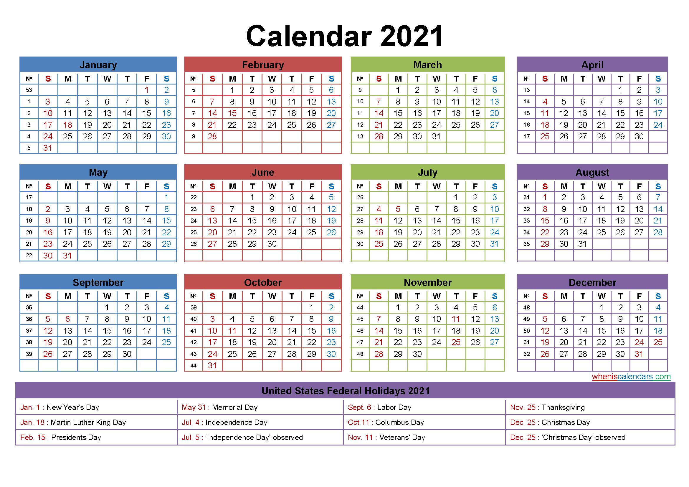 Free Editable Calendar Template 2021 - Template No.ep21Y24